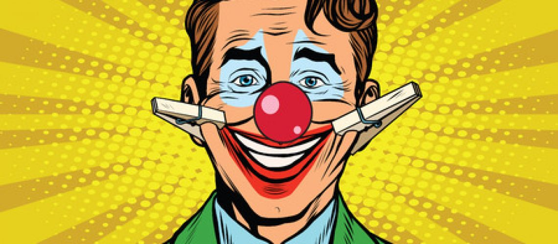 62774879 - clown face smile with clothespins, pop art retro vector illustration